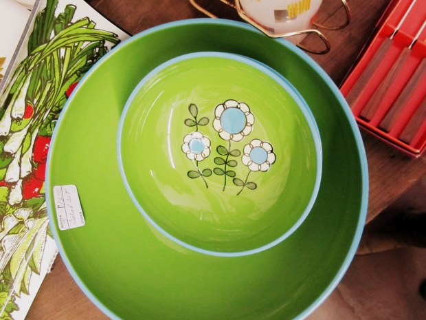 green serving plate and bowl