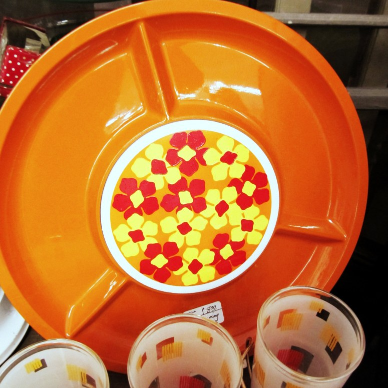 orange divided dish
