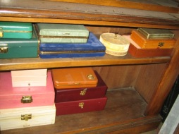 Stacks of jewelry boxes